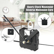 Black Backward Reverse Running Silent Quartz Clock Movement Set Home Office