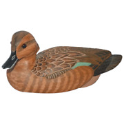 Vtg Wooden Hand Painted Green Wing Teal Hen Duck Decoy George Evans Crisfield Md