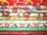 Vintage Christmas Wrapping Paper Gift Wrap Santa Candles 9 Roll Lot Mid Century