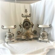 Rare Vintage Ball Black White Marble French Mantle Clock With Candle Holder Good