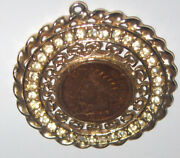 1906 Indian Head Penny In Rhinestone Lined Setting Pendant Necklace Us Mint
