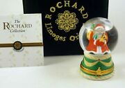 New Hand Painted Rochard French Limoges Trinket Box Santa Claus In Water Globe