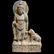 Circa Gandhara Stone Standing Statue And A Beast Large Size.
