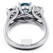 1.91ct Blue I1 Round Cut Natural Certified Diamonds Plat Classic Engagement Ring