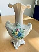 10 1/2 Inch Ireland Belleek Color Floral Double Shell Vase Green Mark