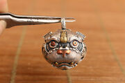 Solid Sterling Silver Kirin Fortune Statue Small Bell Pendant Necklace Netsuke