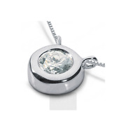 1 Ct F Si2 Round Cut Earth Mined Certified Diamond 950 Pl. Solitaire Pendant