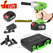 1/2 Cordless Electric Impact Wrench Gun Drill Fast Charger 16800mah 1x Battery