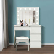 12pc High Quality Dressing Table Makeup Vanity Set W/cushioned Stool Mirror Hot
