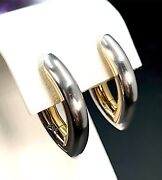Stunning Boodles Solid 18k 750 Yellow Gold And 950 Platinum Modern Post Earrings