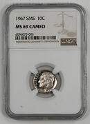 1967 Sms Roosevelt Dime 10c Ngc Certified Ms 69 Mint State Unc - Cameo 005