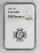 1964 Proof Roosevelt Dime 10c Ngc Certified Pf 69 Uncirculated - Cameo 026