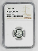 1964 Proof Roosevelt Dime 10c Ngc Certified Pf 69 Uncirculated - Cameo 019