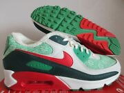 Mens Nike Air Max 90 White-red Nordic Christmas Sweater Sz 7.5 [dc1607-100]