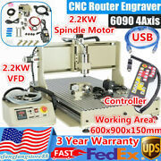 Usb 4 Axis Cnc 6090 Router Engraver 2.2kw Vfd Metal Carving Milling Machine + Rc