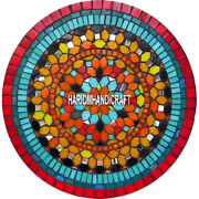 Mosaic Round Marble Dining Table Top Carnellian Turquoise Inlay Garden Art H3841