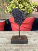 Vintage Wooden Flower Leaves Hand Carved Design Old Printing Block With Stand