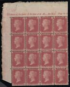 Sg 43 Great Britain 1864-79. One Penny Red Plate 89. Top Left Side Block Of 16
