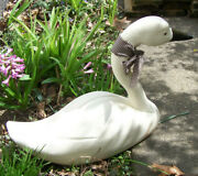 Vintage Large Wooden White Goose/swan Off White Hand Carved 22