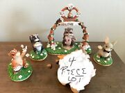 Fitz And Floyd Charming Tails Wedding Party Lot Of 4 Figurine Pieces Must See