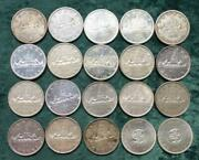 Roll Of Mixed Date Canada 80 Silver Dollars, 20 Canadian 1 Coins, 12 Oz Asw