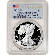 2021 W American Silver Eagle Proof - Pcgs Pr70 Dcam First Day Issue