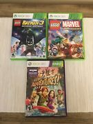 Lot 3 Xbox 360 Lego Game Batman 3 Marvel Super Heroes And Kinect Adventure