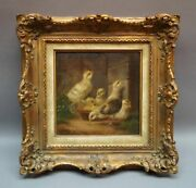 Carl Jutz 1838 - 1916 Chick At Food Bowl On Grass U Sand In Angle One Wall