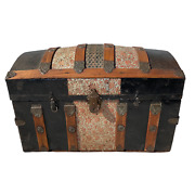 Antique Victorian Dome Top Embossed Tin Luggage Trunk - Black Pink White