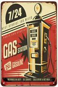 Gas Station Tin Signelectric Gas Oil Auto Vintage Metal Tin Signs For Cafes Bar