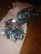 Vintage Atlas Quart Jar With Glass Top Lots Of Marbles Shooters Qty 200 +