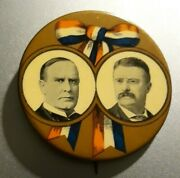 Rare 2 1/8 Mckinley And Roosevelt Jugate Button Ribbon Gold Background