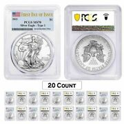Lot Of 20 - 2021 1 Oz Silver American Eagle Coin Pcgs Ms 70 First Day Of Issue