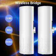 1pair 5.8ghz Wireless Bridge Outdoor Cpe 300mbps Ap Router Wifi Repeater Poe