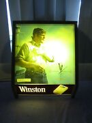 Vintage Winston Cigarettes Lighted Wood Wall Clock By Rj Reynolds Tobacco 1970's