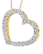 1/2 Ct White Real Diamond Heart Pendant Necklace 14k Yellow Gold Valentine Gifts