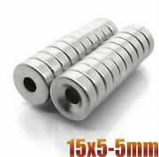 Neodymium Magnet 10/20/50/500pc Disc 15x5mm Hole 5mm N35 Powerful Strong Magnets