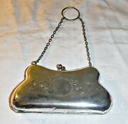 Antique Vintage Silver Plated Engraved Metal Evening Purse Chatelaine Or Finger