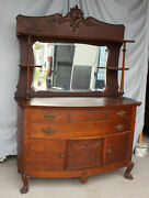 Antique Oak Sideboard Buffet Andndash Carved Claw Feet - Lots Of Storage Space