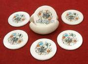 Unique Marble Coaster Set With Holder Stone Antique Finish Arts Ideal Gift H3351
