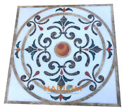 38 Marble Square Dining Table Top Collectible Marquetry Inlaid Home Decor W295
