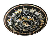 3and039 Marble Black Dining Center Table Top Grand Pietra Dure Home Decorative B086