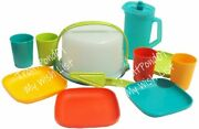 Tupperware Mini Party Play Set Cake Taker Plates Pitcher Tumblers Tropical Color