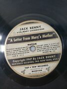 Jack Benny And Mary Livingstone 78 A Letter From Mary's Mother 10 1947 V+/v+