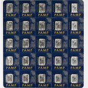 25 1 Gram Platinum Bar Pamp Swiss Suisse Fully Carded Uncut Sheet