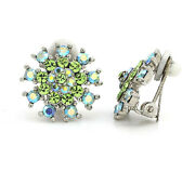 Suzanne Somers Simulated Peridot And Aurora Boralis Clip On Earrings