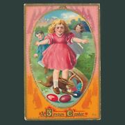 Antique 1910 Easter Postcard Embossed Gold Foil Made In Germany Series 8