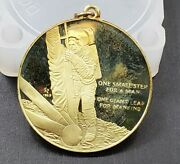 1969 18k Gold Franklin Mint First Step On Moon Apollo Landing Pendant Coa 16 G