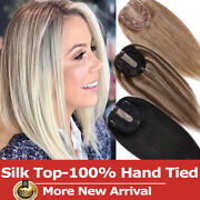 Silk Top 100 Handmade Remy Human Hair For Women Topper Hairpiece Toupee Wig Us
