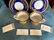 Versace Medusa Blue And Gold Rosenthal Tea / Coffee Cup Set Of 2 W/ Rare Saucers